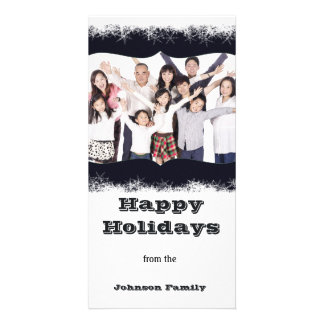 Blue and White Holiday Family Photo Photocard Personalized Photo Card
