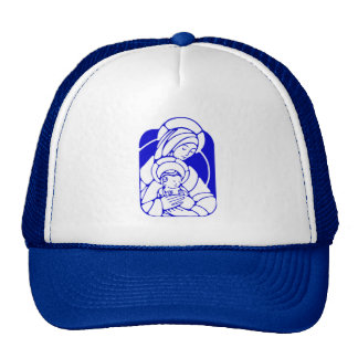 Blue and White Holy Mother and Child Cap