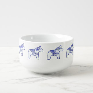 Blue and White Horses Soup Mug