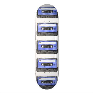 Blue and White Houndstooth Label Cassette 20.6 Cm Skateboard Deck