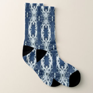 Blue and White Ikat Socks