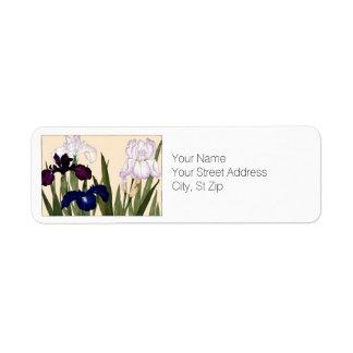 Blue and White Iris Flowers Botanical Art Return Address Label
