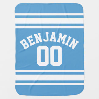 Blue and White Jersey Stripes Custom Name Number Baby Blanket