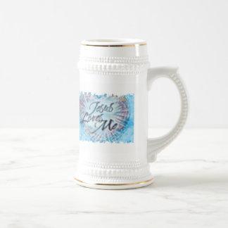 Blue and White Jesus Loves Me Super Stein Beer Steins