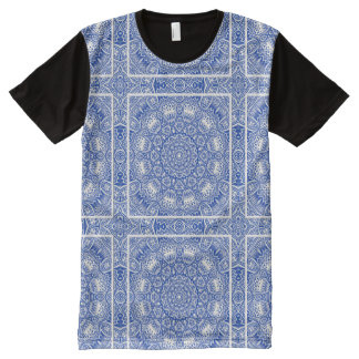 Blue And White Kaleidoscope All-Over Print T-Shirt