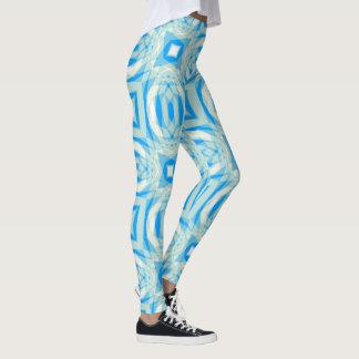 Blue and White Kaleidoscope Pattern Leggings