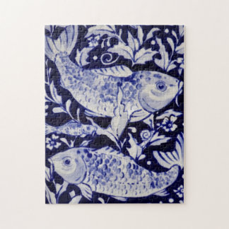 Blue and White Koi Fish Difficult Jigsaw Puzzle