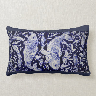 Blue and White Koi Pond Ceramic Tile Design Pillow