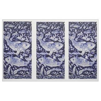 Blue and White Koi Pond Tile Design Fabric Panels