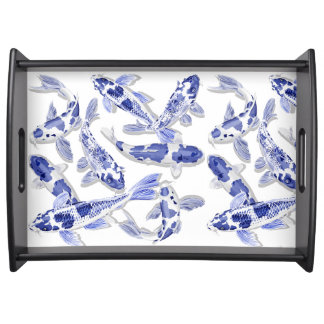 Blue and white Koi Serving Tray