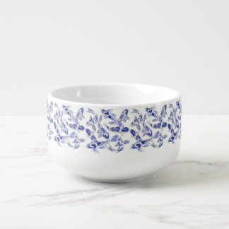 Blue and white Koi Soup Mug