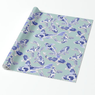 Blue and white Koi Wrapping Paper