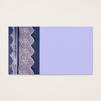 blue and white lace business card
