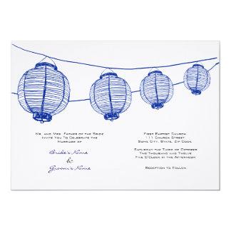 Blue and White Lanterns Wedding Invitation