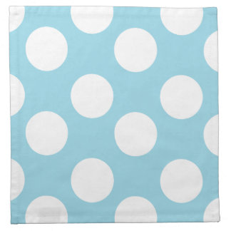 Blue and White Large Polka Dot Print Cloth Napkins