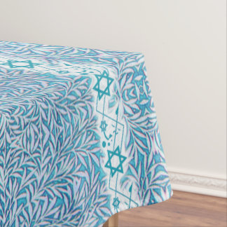 Blue and White Leafy Star of David Border Tablecloth