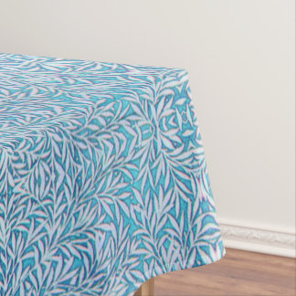 Blue and White Leafy Tablecloth