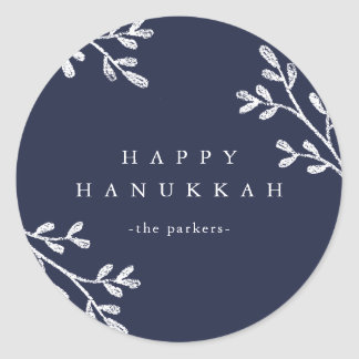 Blue and White Leaves | Happy Hanukkah Classic Round Sticker