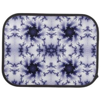 Blue and White Lightning Fractal Pattern Floor Mat