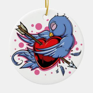 blue and white love bird ceramic ornament
