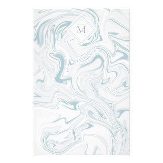Blue and White Marble look with Diamond Monogram Personalised Stationery