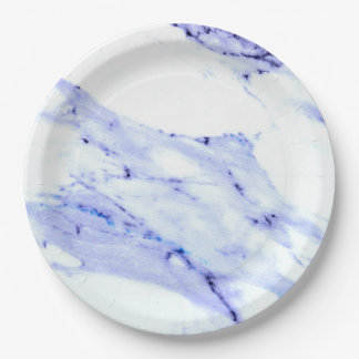 Blue and White Marble Paper Plate
