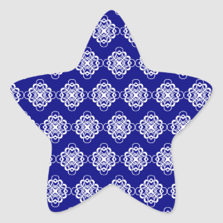Blue and White Modern Decorative Links Star Stickers
