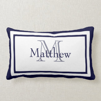 Blue and White Monogram Name Keepsake Pillow