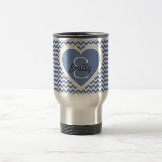 Blue and White Monogram on Heart Travel Mug