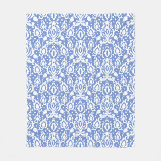Blue and White Moroccan Casbah Damask Fleece Blanket