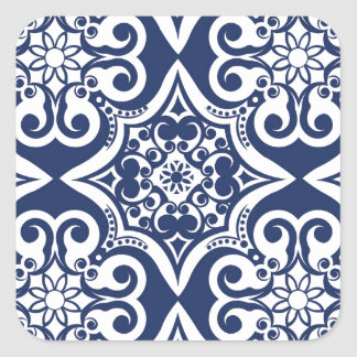 Blue and White Moroccan Pattern Square Sticker