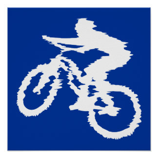 Blue and White Mountain Bike Poster