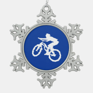 Blue and White Mountain Bike Snowflake Pewter Christmas Ornament
