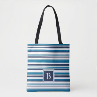 Blue and White Multi Stripe Monogram Tote Bag