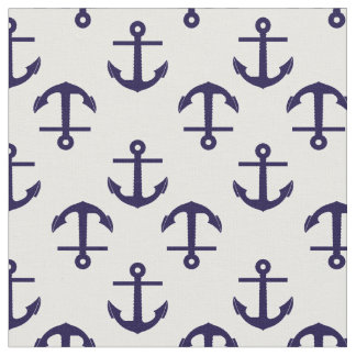 Blue and White nautical anchor Pattern Fabric