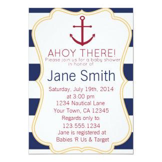 Blue and White Nautical Baby Shower Invitation