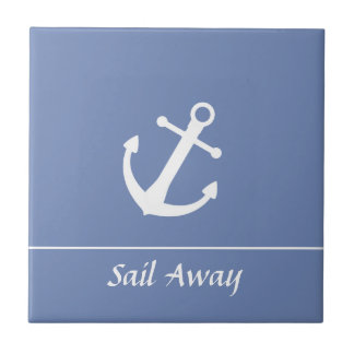 Blue and White Nautical Ceramic Tile