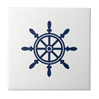 Blue and White Nautical Ceramic Tile - Ship Wheel