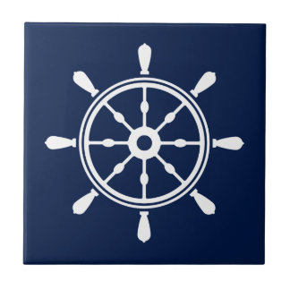 Blue and White Nautical Ceramic Tile - Ship Wheel