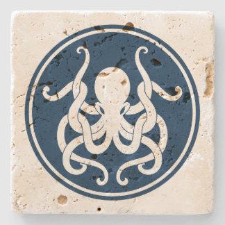 Blue And White Nautical Octopus Illustration Stone Coaster
