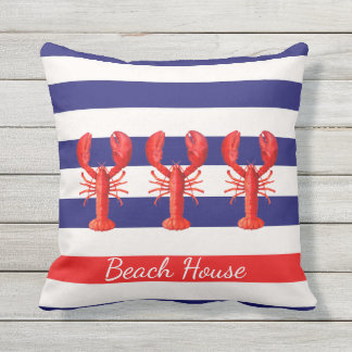 Blue and white nautical stripes and red lobsters outdoor cushion