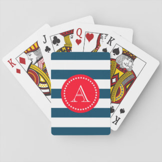 Blue and white navy pattern poker deck