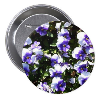 Blue and White Pansies Corsage - Allergy-Free Pinback Buttons