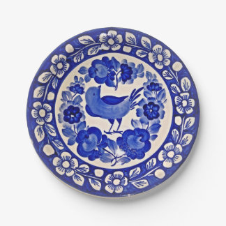 Blue and White Pattern with Bird and Flowers Paper Plate