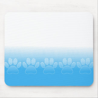 Blue And White Paws With Newsprint Background Mouse Pad