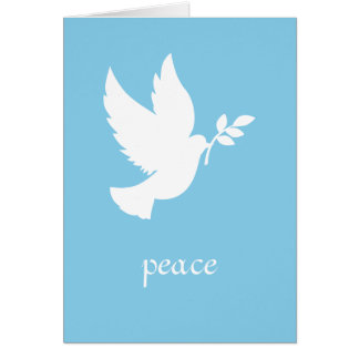 Blue and White Peace Dove Card