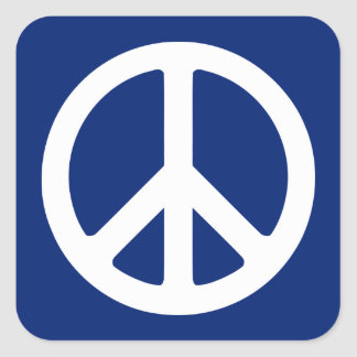 Blue and White Peace Symbol Square Sticker