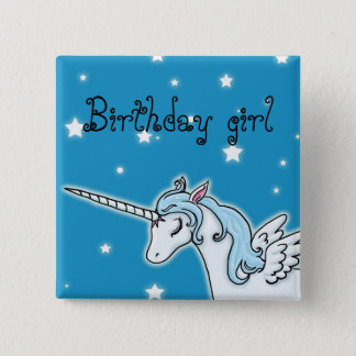 Blue and white Pegasus Unicorn Birthday girl 15 Cm Square Badge