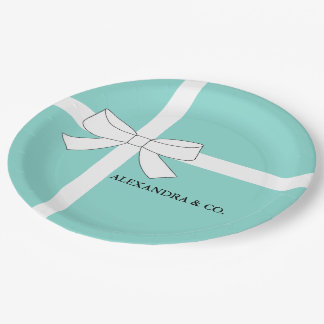 Blue and White Personalised Shower Party Plates