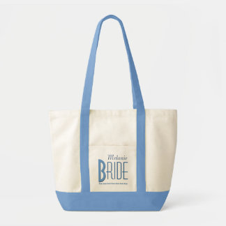 Blue and White Personalized Bride Tote Bag